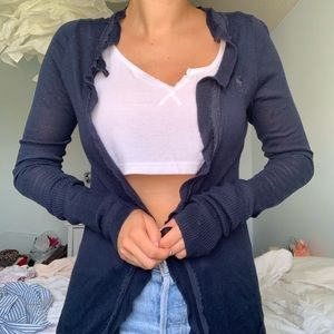 Abercrombie & Fitch Long Navy Cotton Cardigan